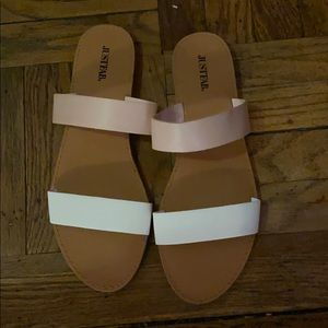 JustFab double strap sandals